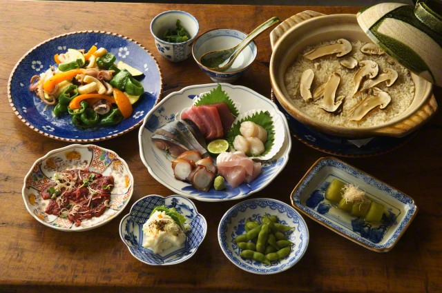 Tokyo, Japan --- Selection of Asian food, high angle view --- Image by © Koji Hanabuchi/Corbis
